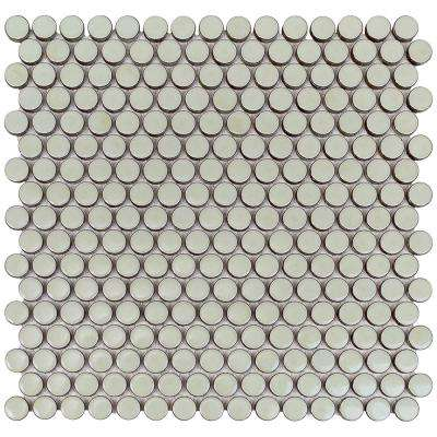 Bliss Edged Penny Round Sage 12 in. x 12 in. x 6 mm Polished Ceramic Mosaic Tile