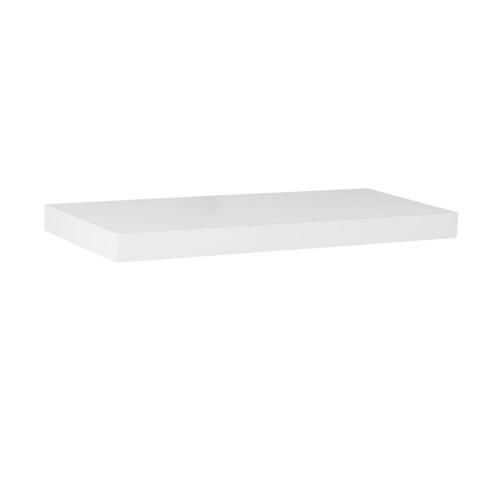 17.7 in. L x 7.75 in. W Slim Floating White Shelf