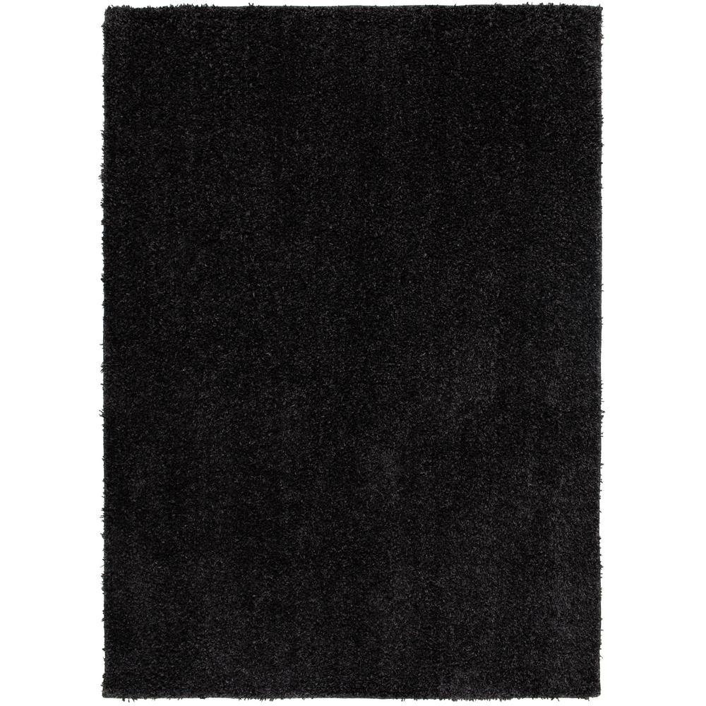 Black Shag 5 ft. x 7 ft. Solid Polypropylene Area Rug