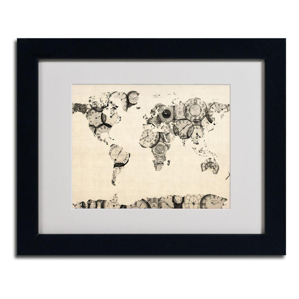 11 in. x 14 in. Old Clocks World Map Matted Framed