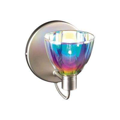 1-Light Satin Nickel Sconce with Dichroic Glass