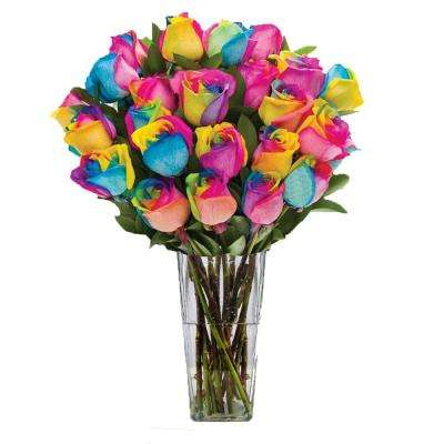 Gorgeous Rainbow Rose Bouquet in Clear Vase (24 Stem) Overnight Shipping Included