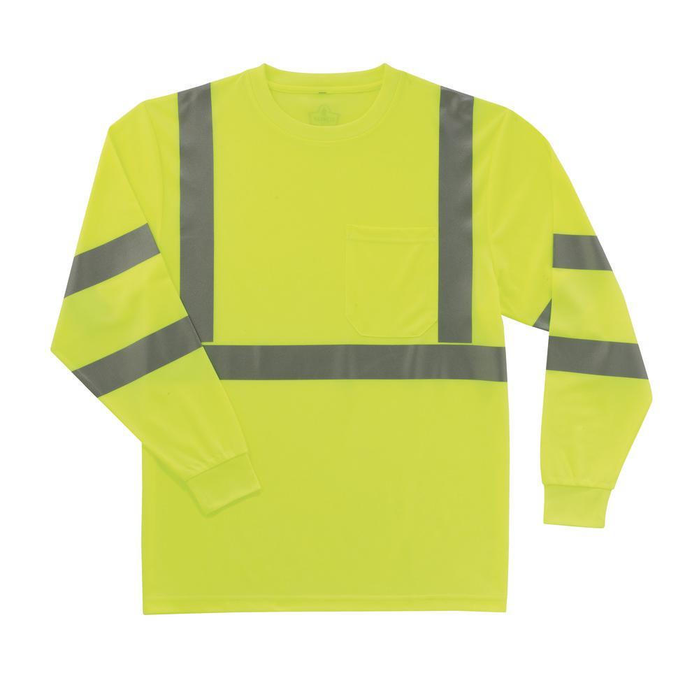 2XL Hi Vis Lime Long Sleeve T-Shirt
