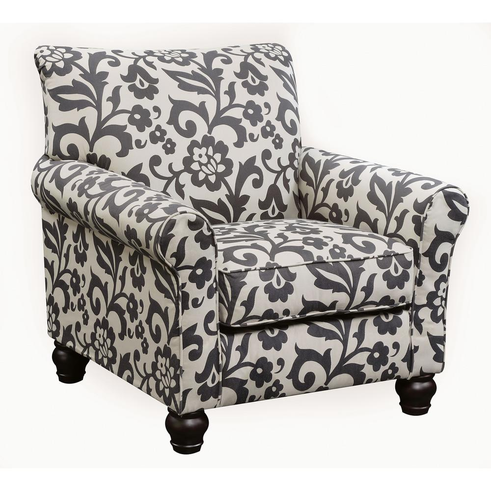 Clear Transitional Gray Ivory Pattern Accent Chair Cm6139b