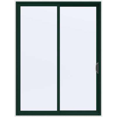 72 in. x 96 in. V-4500 Contemporary Green Painted Vinyl Right-Hand Full Lite Sliding Patio Door w/White Interior