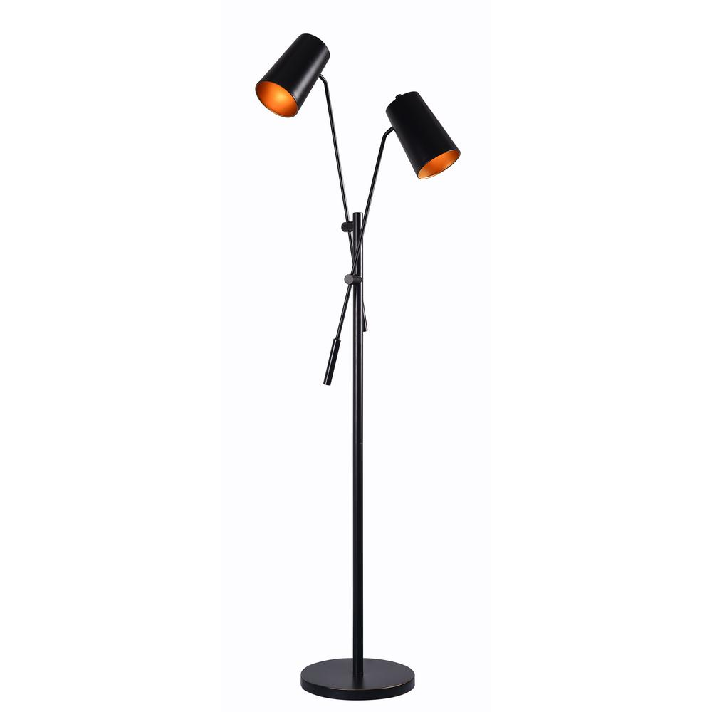 Kenroy home avallone 58 in black floor lamp with black shade black floor lamp with black shade aloadofball Choice Image