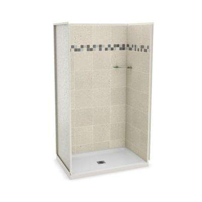 Utile Stone 32 in. x 48 in. x 83.5 in. Alcove Shower Stall in Sahara with Center Drain Base in White