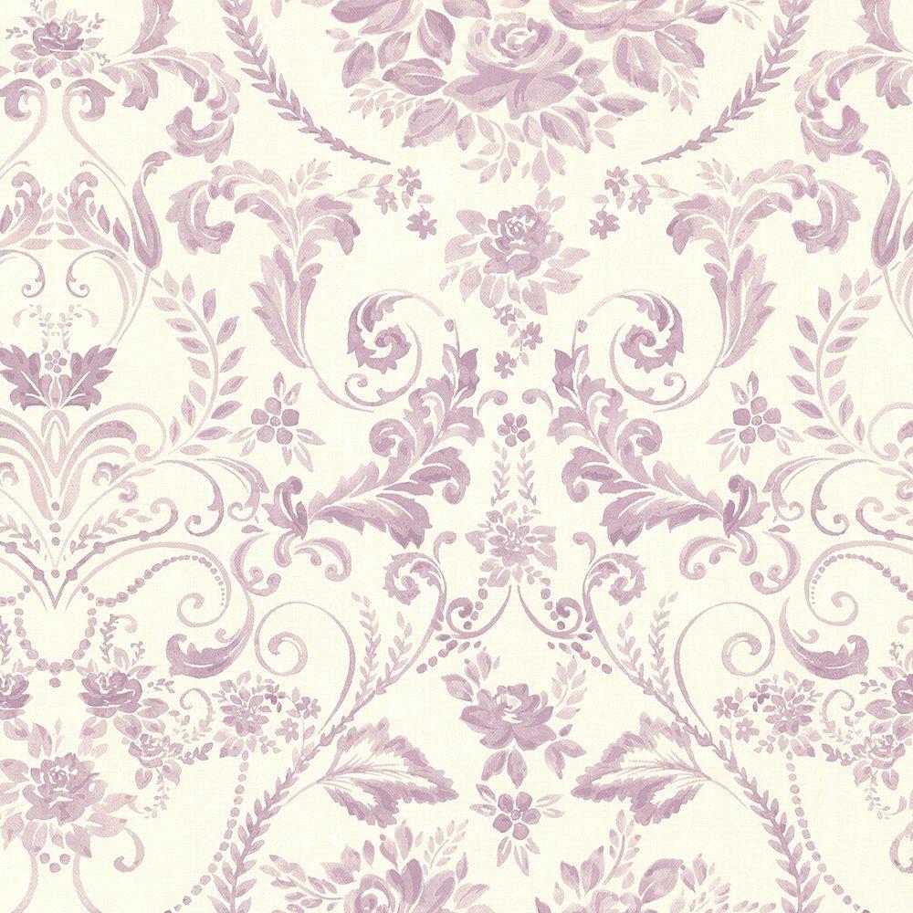Brewster Bella Purple Damask Wallpaper Sample 2686-22032SAM