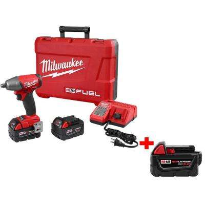 M18 FUEL 18-Volt Lithium-Ion Cordless Brushless 1/2 in. Impact Wrench Kit with Free M18 18-Volt XC 5.0Ah Battery