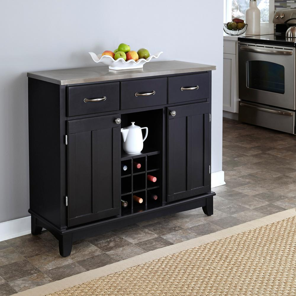 Black and Stainless Steel Buffet with Storage