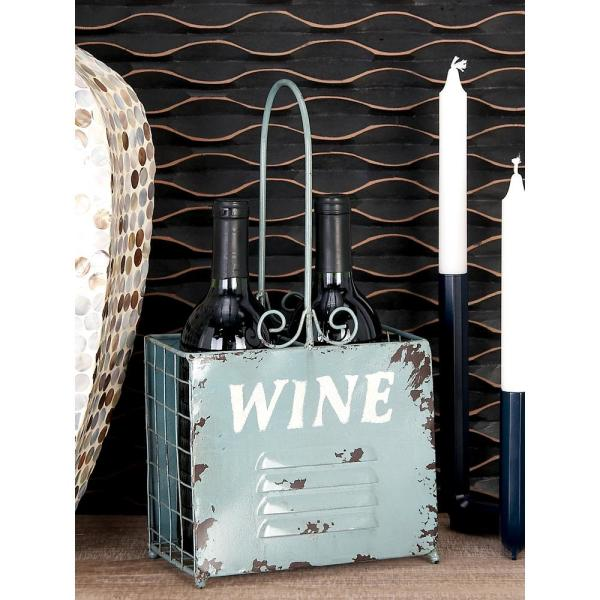 Litton Lane 8 in. x 15 in. 2-Bottle Wine Holders in Distressed Cherry Red, Military Green and Sage Green (Set of 3)