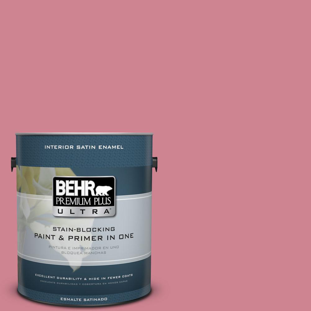 BEHR Premium Plus Ultra 1-gal. #130D-4 Rose Sachet Satin Enamel Interior Paint