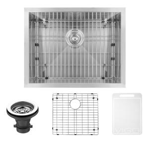 VIGO Undermount Stainless Steel 23 In. Single Bowl Kitchen Sink With Grid  And Strainer VG2318CK1   The Home Depot