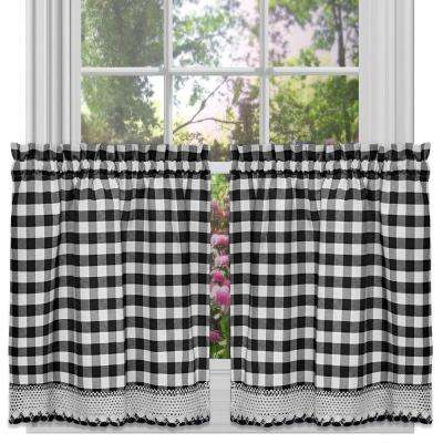 Semi-Opaque Buffalo Check Black Poly/Cotton Tier Pair Curtain 58 in. W x 36 in. L