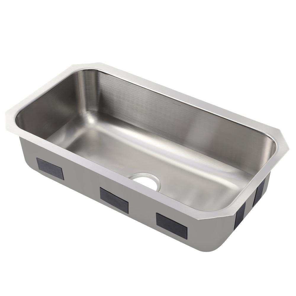 kohler ballad undermount stainless steel 32 in single bowl kitchen rh homedepot com stainless undermount kitchen sink single bowl stainless steel undermount kitchen sink with drainboard