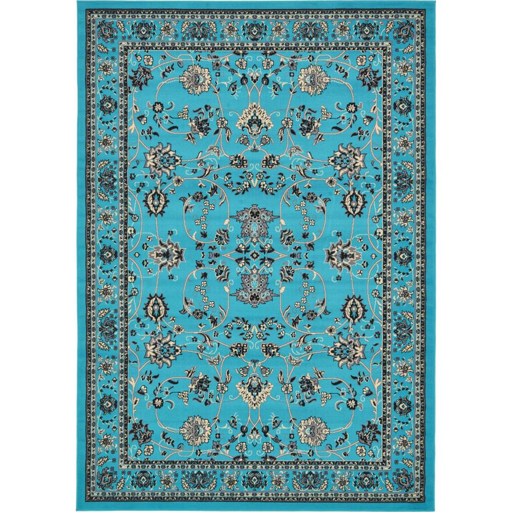 Linoleum Rug Turquoise Terracotta Area Rug Or Kitchen Mat: Unique Loom Kashan Turquoise 7 Ft. X 10 Ft. Area Rug