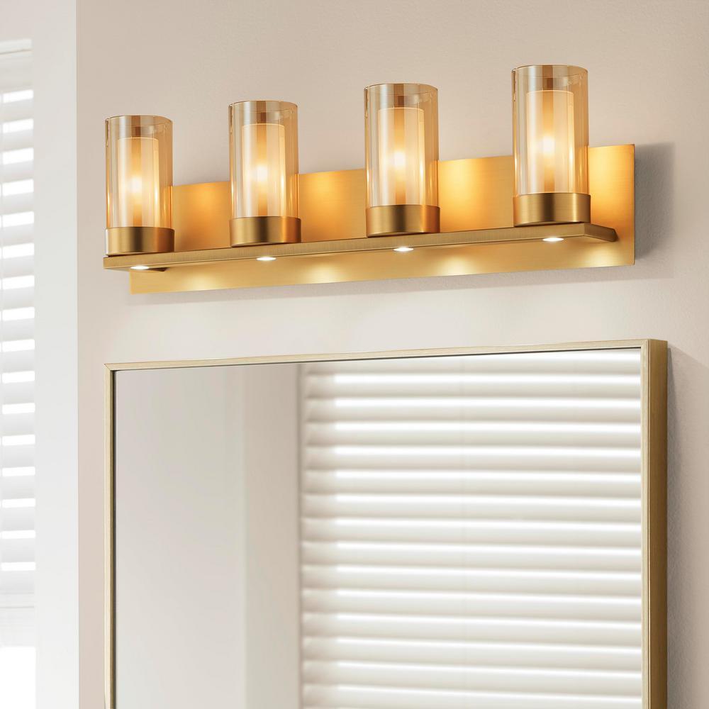 Samantha 26.6 in. 4-Light  Brass LED Bathroom Vanity Light