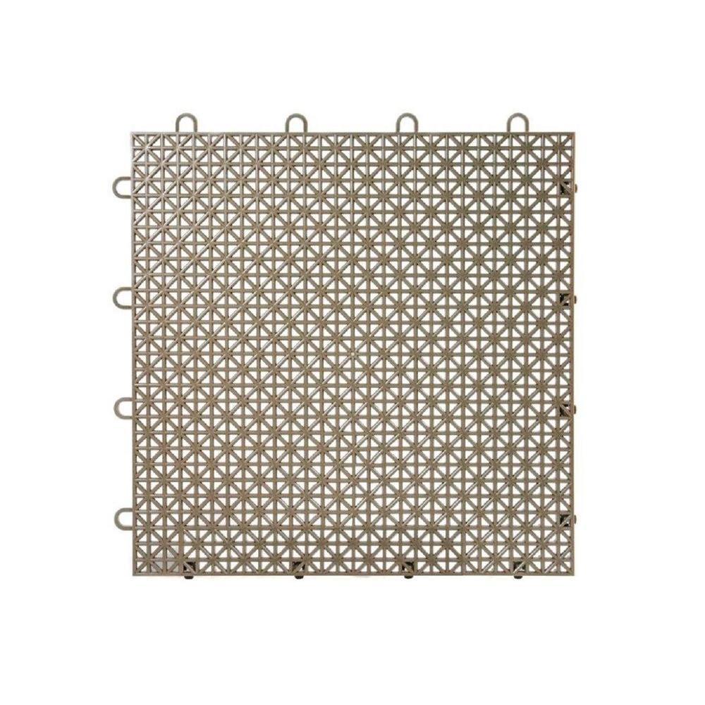 Armadillo Tile Mud Brown 12 in. x 12 in. Polypropylene Interlocking Multipurpose Floor Tile (9-Pack)