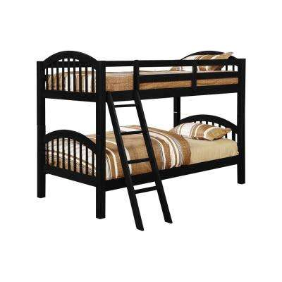 Beth Black Wood Twin over Twin Country Style Convertible Bunk Bed