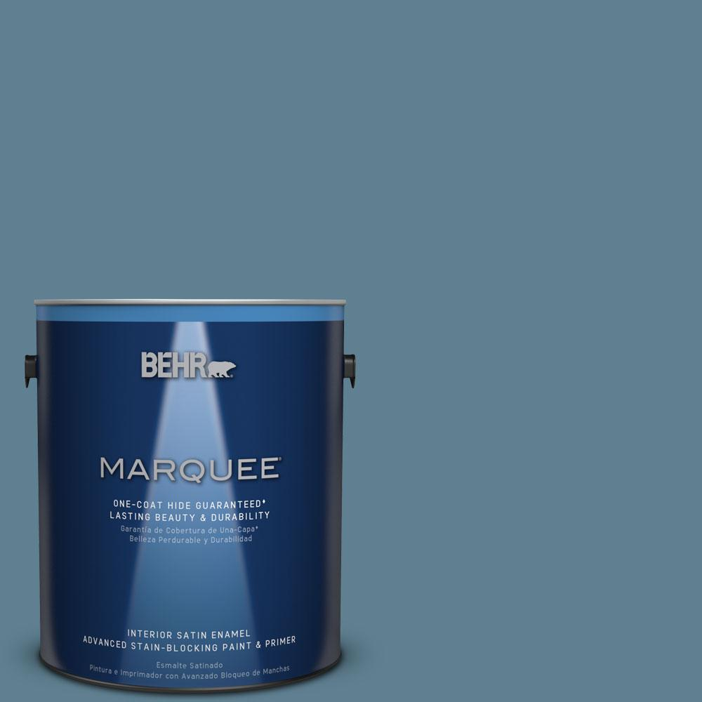 1 gal. #S470-5 Blueprint Satin Enamel Interior Paint and Primer in