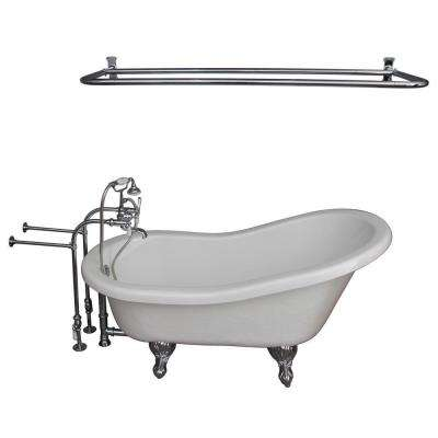 5.6 ft. Acrylic Ball and Claw Feet Slipper Tub in White with Polished Chrome Feet