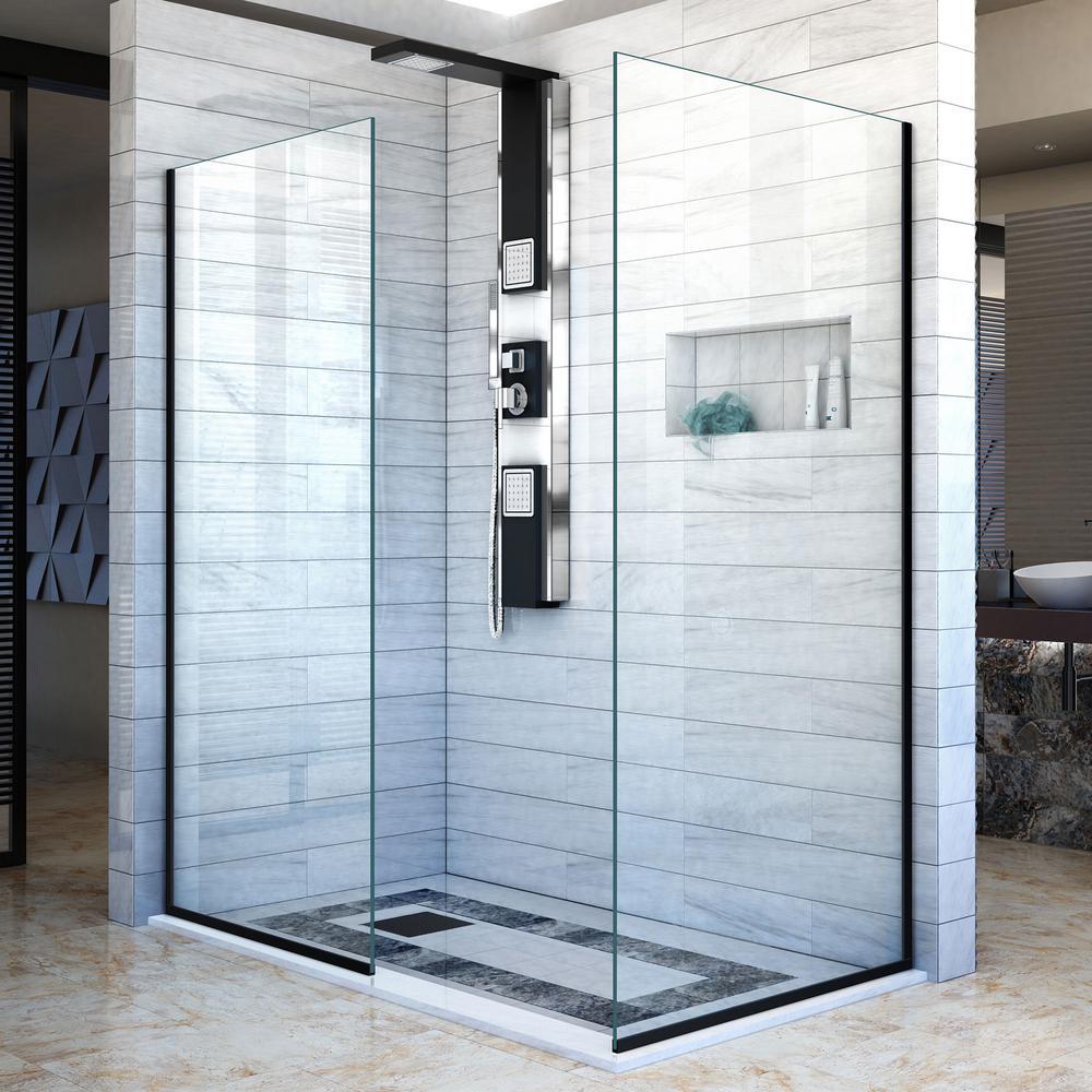 Linea 34 in. x 72 in. Semi-Frameless Corner Fixed Shower Screen in Satin Black