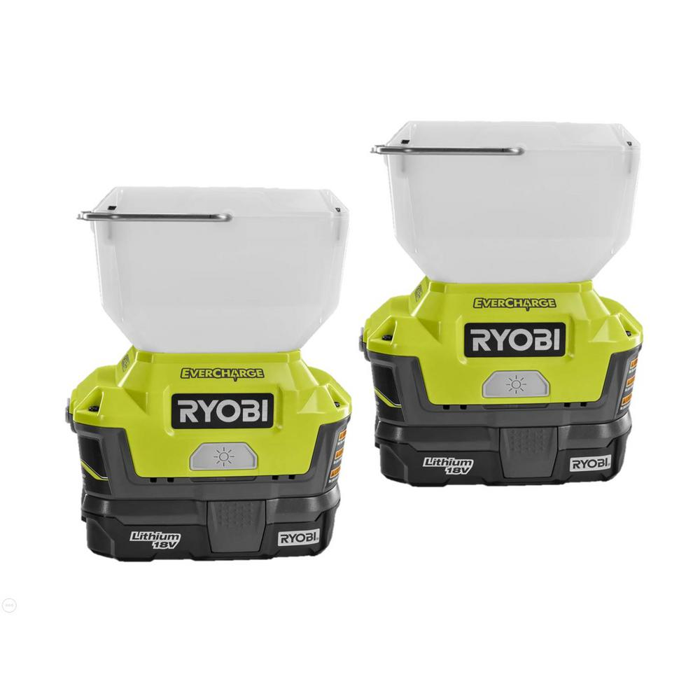 RYOBI 18-Volt ONE+ Lithium-Ion Cordless EVERCHARGE LED Area Light 2-Pack with (2) 1.3 Ah Batteries and (2) Wall Mount Chargers