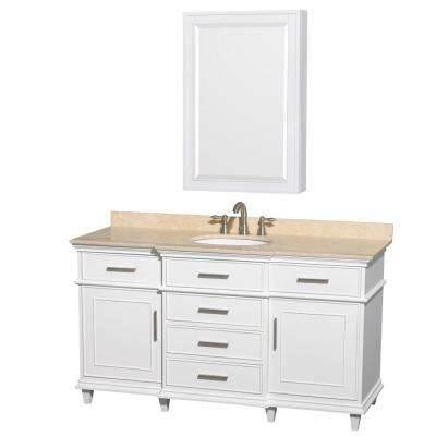 Berkeley 60 in. Vanity in White with Marble Vanity Top in Ivory, Undermount Round Sink and Medicine Cabinet