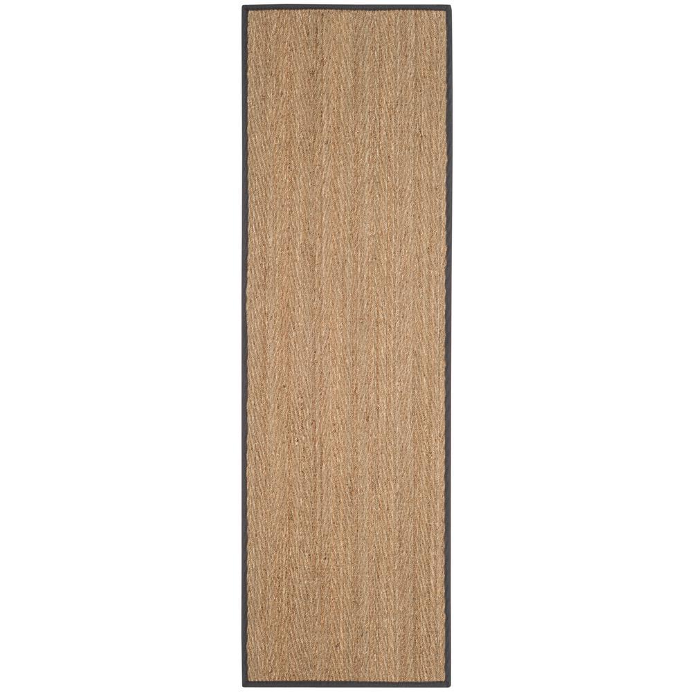 Natural Fiber Beige/Dark Gray 3 ft. x 8 ft. Indoor Runner Rug