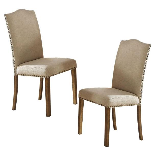 Beige and Brown with Back Fabric Upholstered Wooden Side Chair (Set of 2)