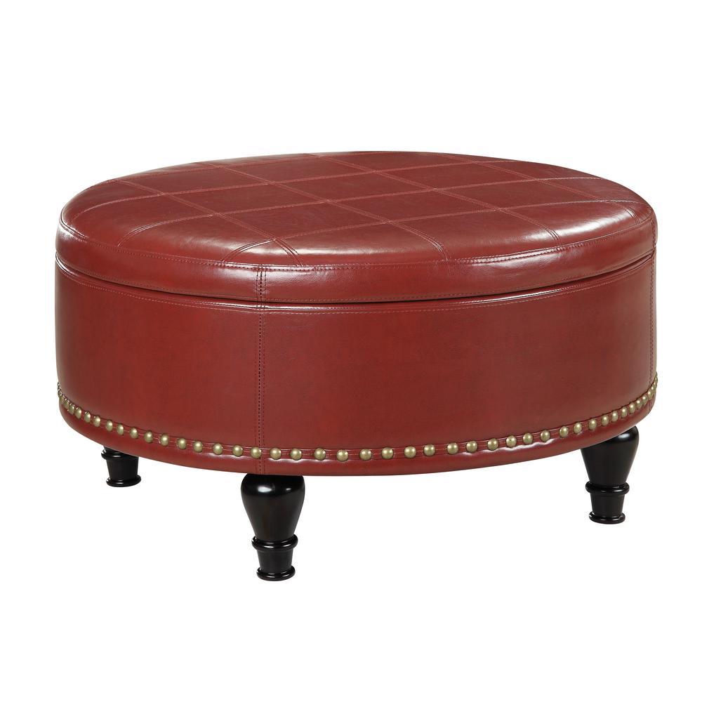 Augusta crimson red storage ottoman