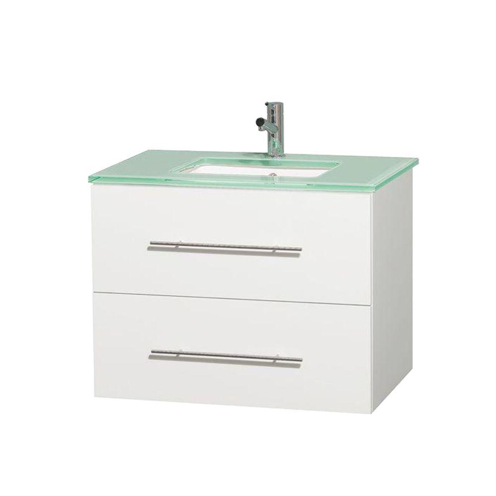 Wyndham Collection Centra 30 in. Vanity in White with Glass Vanity Top in Green and Undermount Square Sink