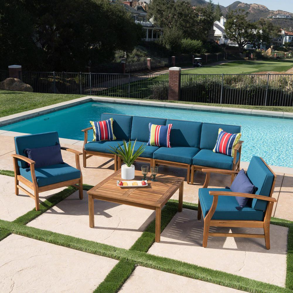 Exceptionnel Giancarlo Teak 7 Piece Wood Patio Sofa And Club Chair Conversation Set With  Blue Cushions