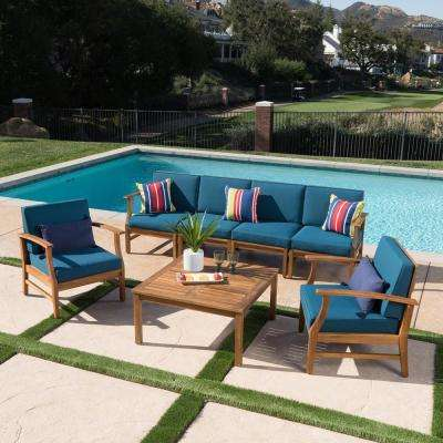 Giancarlo Teak 7-Piece Wood Patio Sofa and Club Chair Conversation Set with Blue Cushions