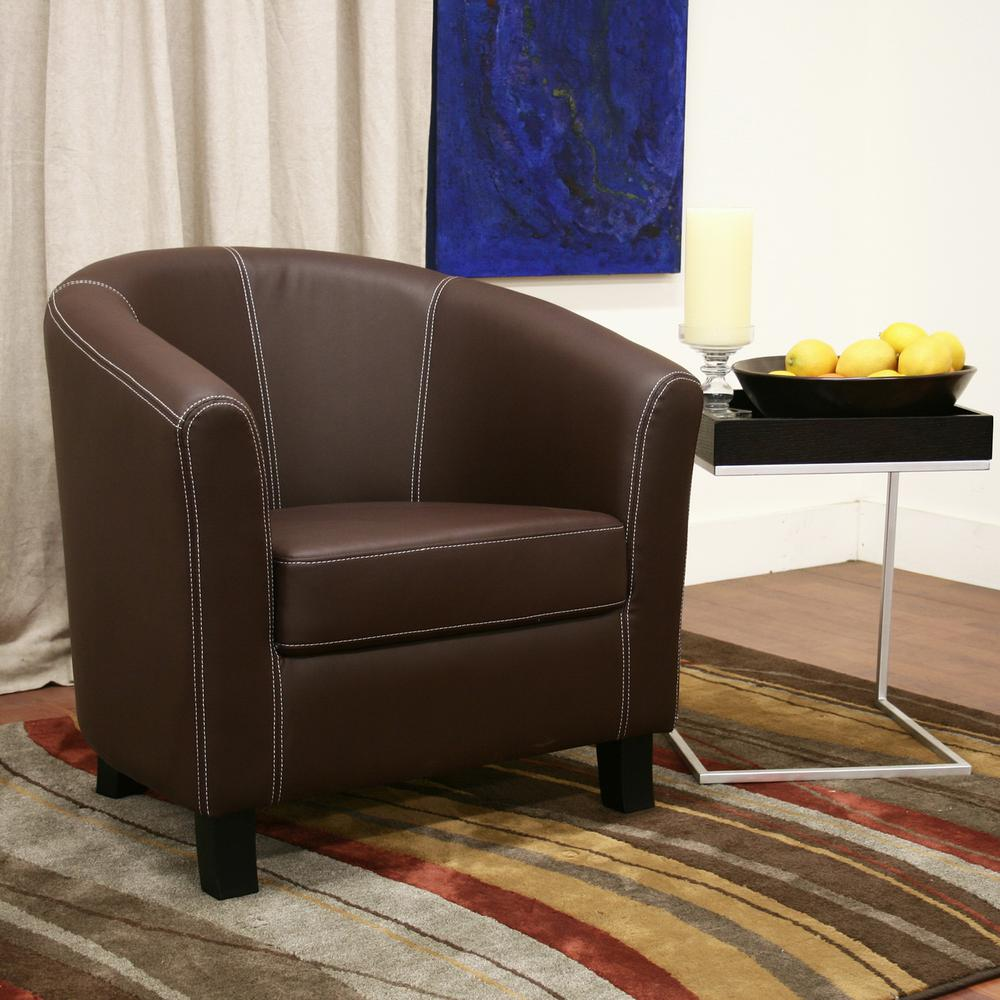 Elijah Dark Brown Faux Leather Upholstered Accent Chair