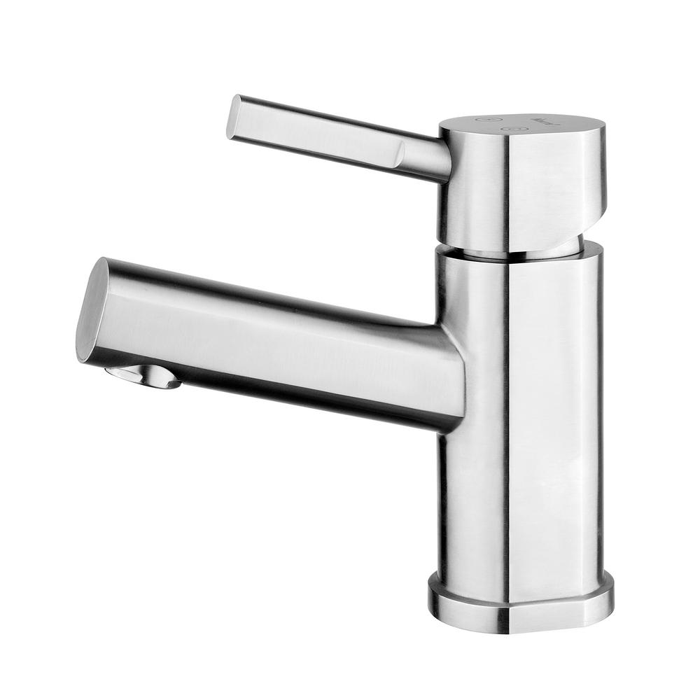Whitehaus Collection Waterhaus Single Hole SingleHandle Bathroom - Brushed stainless steel bathroom faucet