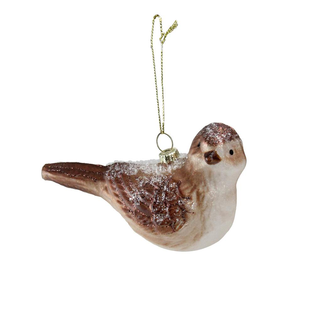Northlight 4.5 in. Snowy Glitter Sparrow Glass Bird ...