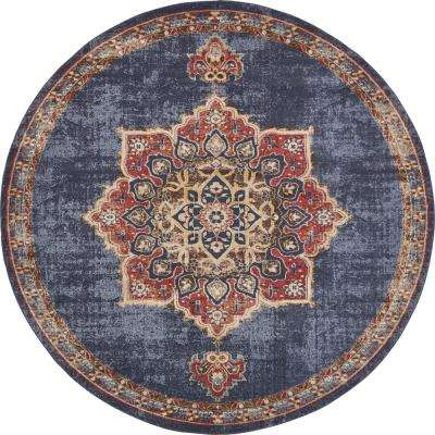 Arcadia Dark Blue 8 ft. x 8 ft. Round Area Rug