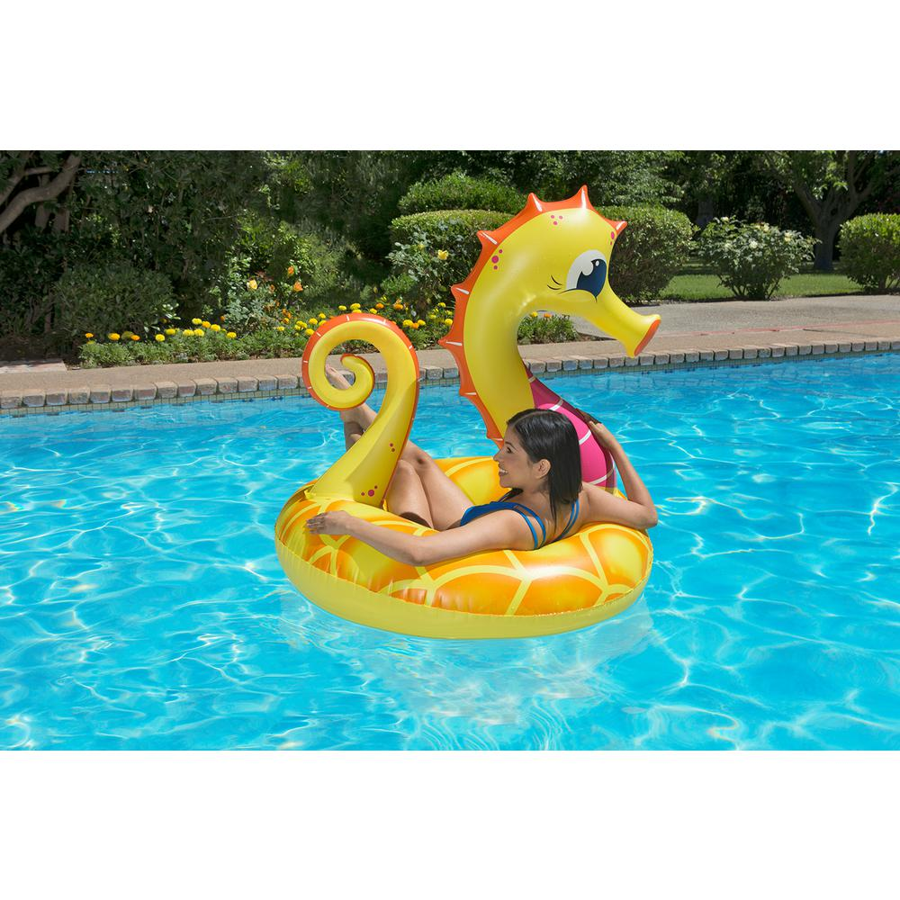 48 inch Yellow Seahorse Swimming Pool Float Tube