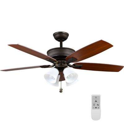 Devron 52 in. Indoor Oil-Rubbed Bronze LED Smart Ceiling Fan with Light and Remote Works with Google Assistant and Alexa