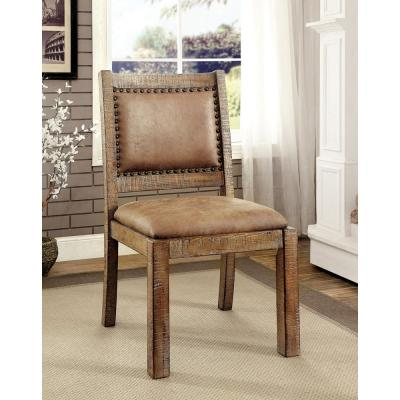 COLETTE Rustic Pine and Browndustrial Style Side Chair
