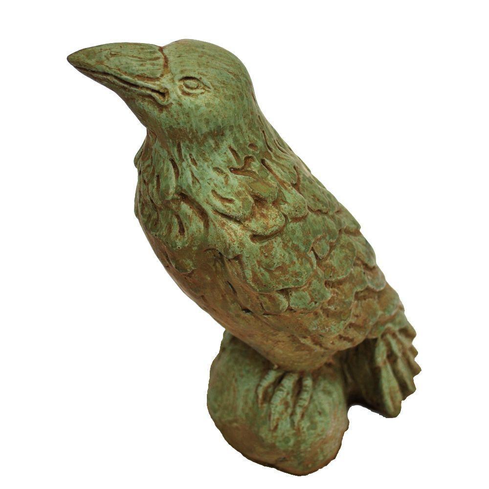Cast Stone Raven Garden Statue Weathered Bronze
