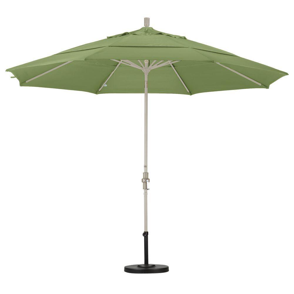 11 ft. Aluminum Collar Tilt Double Vented Patio Umbrella in Palm Pacifica