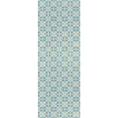 Washable Floral Tiles Aqua Blue 2 Ft. 6 In. X 7 Ft. Stain