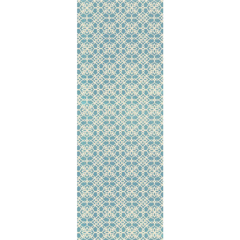 Washable Floral Tiles Aqua Blue 3 ft. x 7 ft. Stain Resistant Runner Rug
