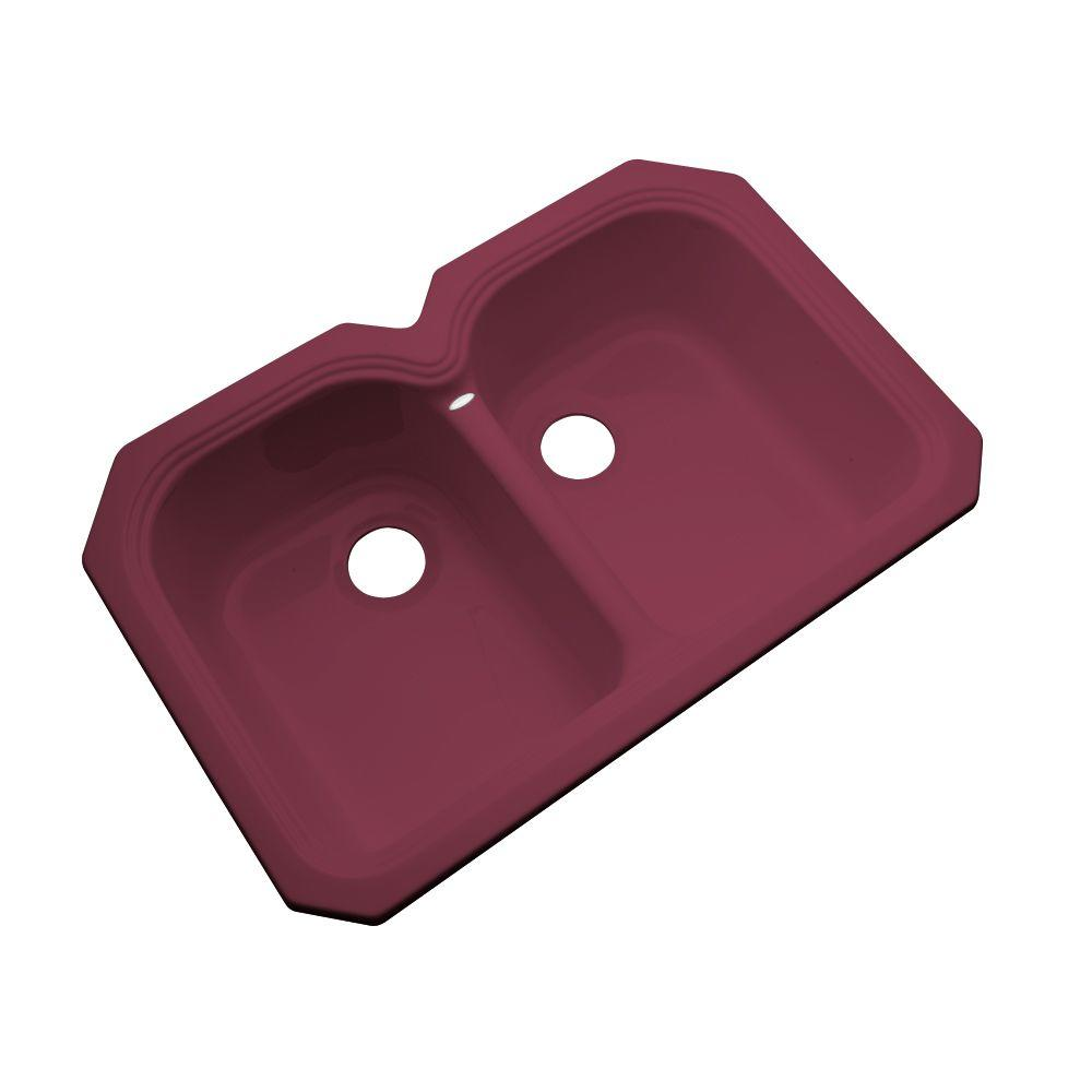 Thermocast Hartford Undermount Acrylic 33x22x9 in. 0-Hole Double Basin Kitchen Sink in Loganberry
