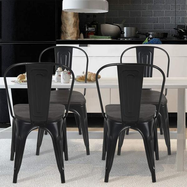 Boyel Living Black With Wooden Seat Stackable Farmhouse Chair Outdoor Patio Restaurant Chair Metal Kitchen Dining Chairs Set Of 4 Yy0003a Bl The Home Depot