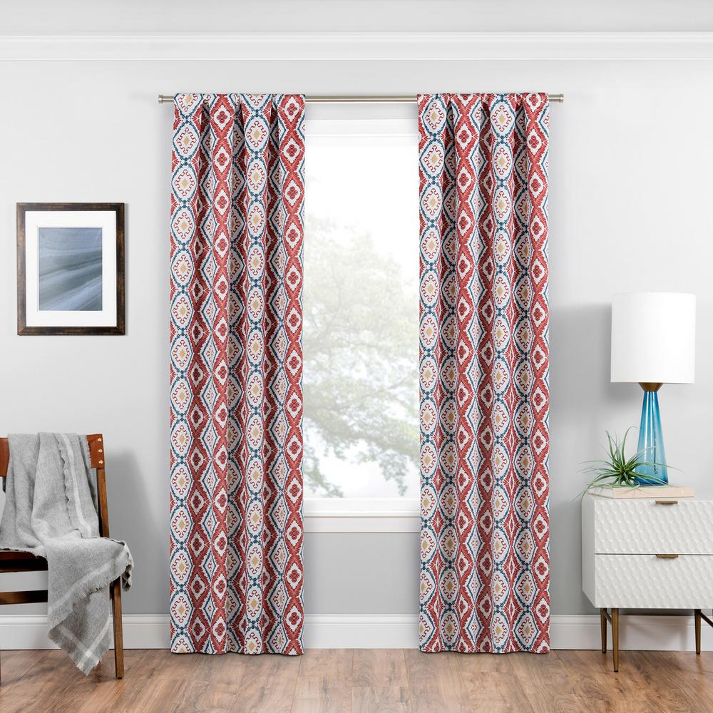 Eclipse Morrow Blackout Window Curtain Panel in Red - 37 in. W x 84 in. L