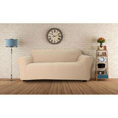 Hanover Water Resistant Taupe Fit Polyester Fit Sofa Slip Cover