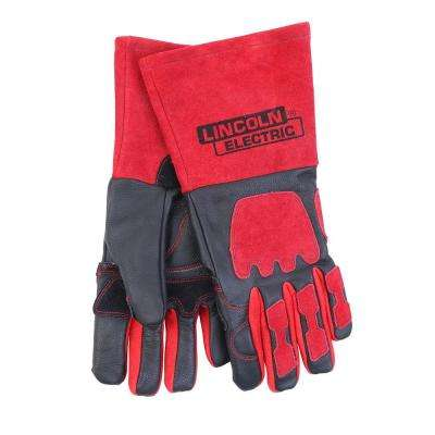 One Size Fits All Red and Black Premium Leather Welding Gloves